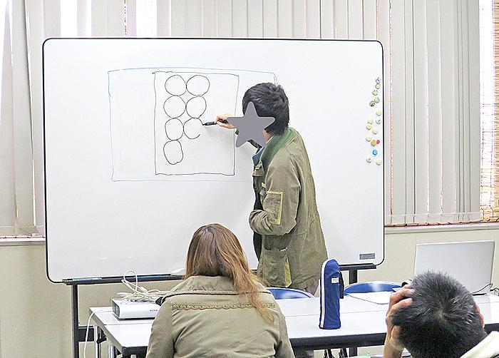 「口頭で」説明を聞いてホワイトボードに描写