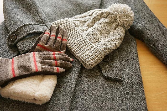 コートに手袋・防止のフル装備