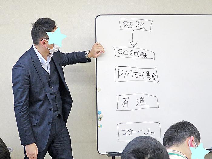 勉強→SC試験→PM試験→昇進→マネージャ