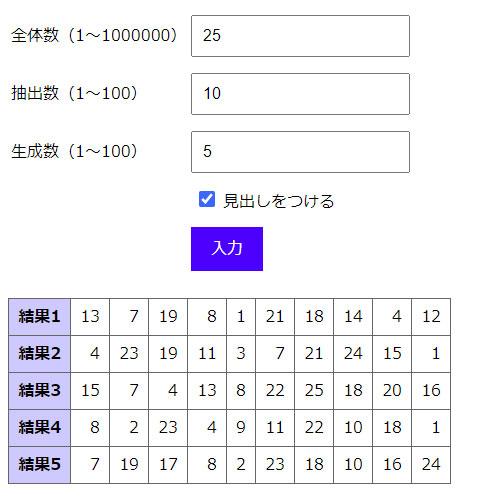 「見出しをつける」にチェックを入れ、結果の行の左端に「結果1」のラベルを表示