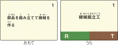 例:表「部品を組み立てて機械を作る」、裏「機械組立工(現実的、対物関係志向)」