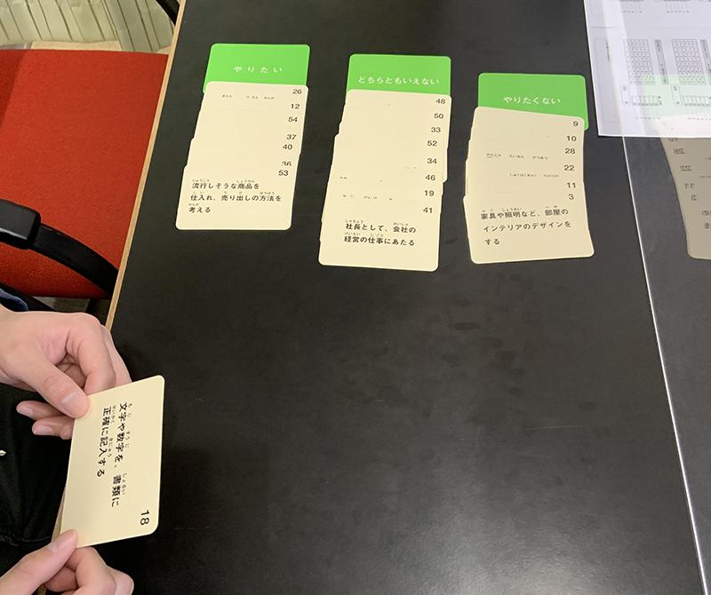 「文字や数字を、書類に正確に記入する」は「やりたい」「どちらともいえない」「やりたくない」のどれに入る?