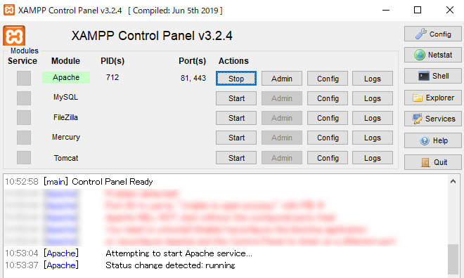 XAMPPの管理画面、Startを押してApacheを起動