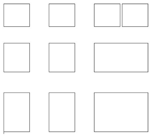 形の違う様々な四角い図形が等間隔に並んだ図