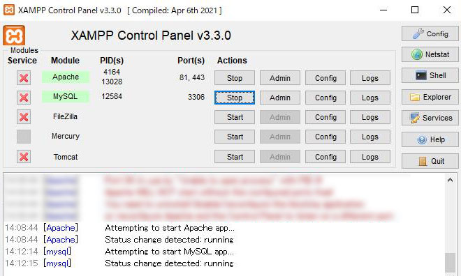 XAMPPの管理画面、Apacheとデータベースを起動