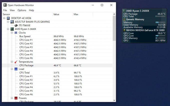 Open Hardware Monitor スクリーンショット